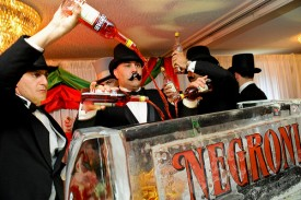 """Bartenders mix the """"world's largest Negroni"""" at Tales of the Cocktail"""